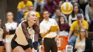 Wyoming Cowgirls Volleyball lost to Utah Valley University 3-2 in the first round of the NIVC in Laramie, Wyoming on Nov. 29, 2018.